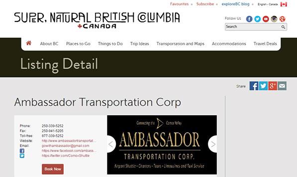 Ambassador Transportation – HelloBC Listing